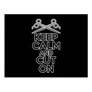 Keep Calm and Cut On Postcard