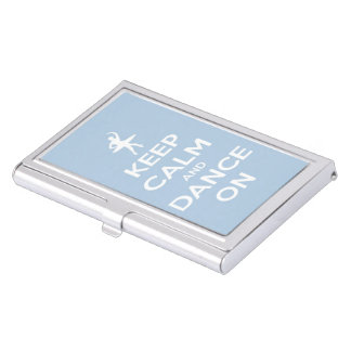 Keep Calm and Dance On Light Blue Business Card Holder