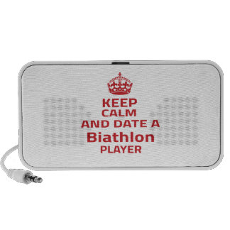Keep calm and date a Biathlon player Travel Speakers