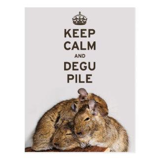 Keep Calm and Degu Pile Postcard
