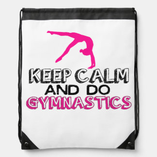 Keep Calm and Do Gymnastics Drawstring Bag
