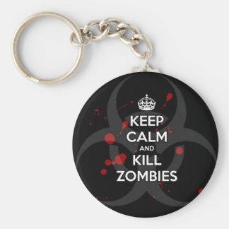 Keep Calm and don t get bit kill zombie zombies wa Key Chain