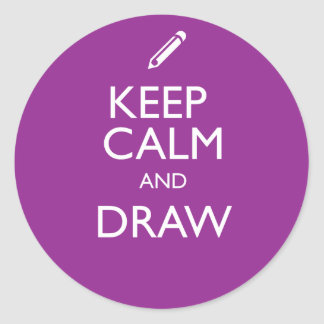 KEEP CALM AND DRAW CLASSIC ROUND STICKER