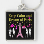 KEEP CALM AND DREAM OF PARIS Silver-Colored SQUARE KEY RING