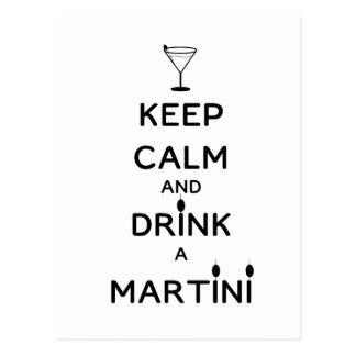 Keep Calm and Drink A Martini Postcard
