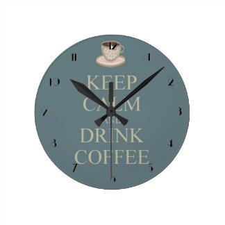 Keep calm and drink coffee round clock