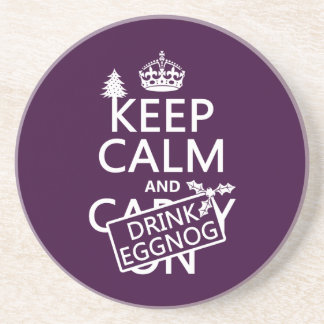 Keep Calm and Drink Eggnog (customize colors) Coaster