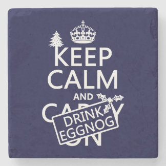 Keep Calm and Drink Eggnog customize colors Stone Coaster