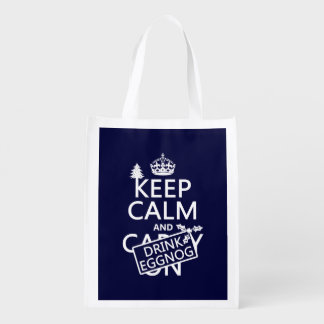 Keep Calm and Drink Eggnog customize colors Market Tote