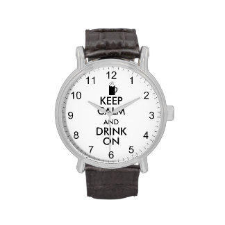 Keep Calm and Drink On Beer Soda Root Beer Lovers Wristwatch