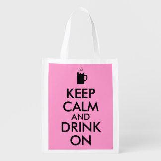 Keep Calm and Drink On Beer Soda Root Beer Lovers Grocery Bags