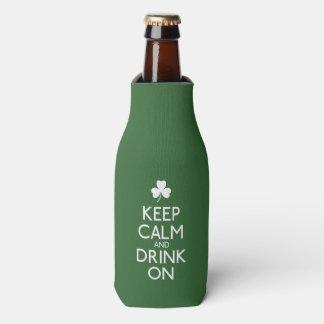 Keep Calm And Drink On Irish Shamrock Bottle Cooler