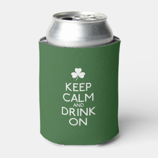 Keep Calm And Drink On Irish Shamrock Can Cooler