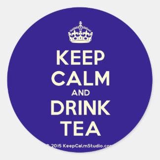 Keep Calm and Drink Tea Round Sticker