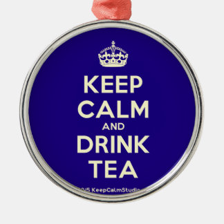 Keep Calm and Drink Tea Silver-Colored Round Decoration