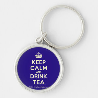 Keep Calm and Drink Tea Silver-Colored Round Key Ring