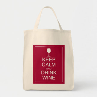 Keep Calm and Drink Wine - Bottle Grocery Tote Bag