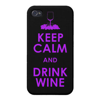 Keep Calm and drink wine grapes alcohol social dri Case For iPhone 4