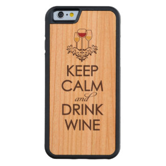 Keep Calm and Drink Wine Wood iPhone Carved Cherry iPhone 6 Bumper Case