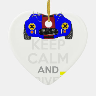 Keep Calm and Drive IT - cod. 1965Cobra427 Ceramic Heart Decoration