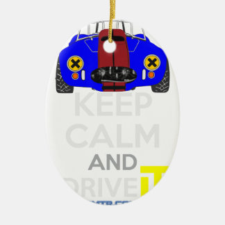 Keep Calm and Drive IT - cod. 1965Cobra427 Ceramic Oval Decoration