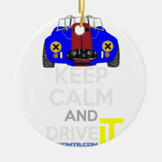 Keep Calm and Drive IT - cod. 1965Cobra427 Round Ceramic Decoration