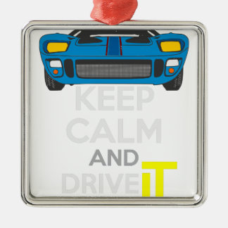 Keep Calm and Drive IT - cod. 1967GT40 Silver-Colored Square Decoration