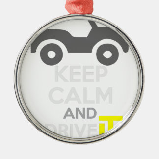 Keep Calm and Drive IT - cod:LDDefender Silver-Colored Round Decoration