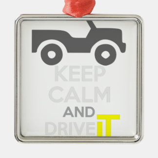 Keep Calm and Drive IT - cod:LDDefender Silver-Colored Square Decoration