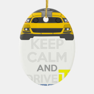 Keep Calm and Drive IT - cod. Mustang302Boss Ceramic Oval Decoration