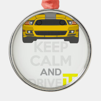Keep Calm and Drive IT - cod. Mustang302Boss Silver-Colored Round Decoration