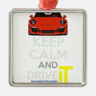 Keep Calm and Drive IT - codPRSC Silver-Colored Square Decoration