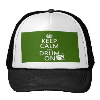 Keep Calm and Drum On (any background color) Cap