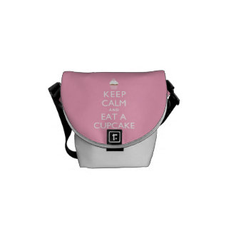 Keep Calm and Eat a Cupcake {pink} Messenger Bags