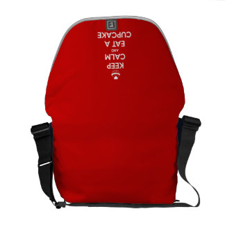 Keep Calm and Eat A Cupcake Red Messenger Bags