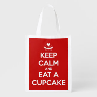 Keep Calm and Eat A Cupcake Red Personalized Tote Grocery Bags