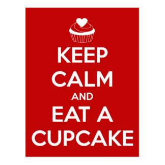 Keep Calm and Eat A Cupcake Red Postcard