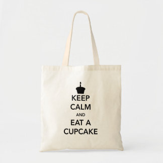 Keep Calm and Eat a Cupcake Tote Bags