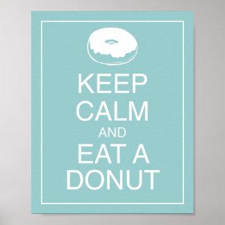 Keep Calm and Eat a Doughnut Art Poster Print