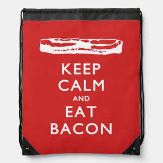 Keep Calm and Eat Bacon Drawstring Backpack
