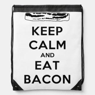 Keep Calm and Eat Bacon Drawstring Backpacks