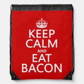 Keep Calm and Eat Bacon funny Cinch Bag