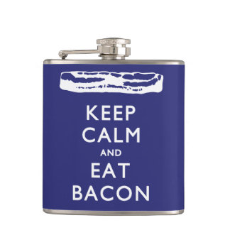KEEP CALM AND EAT BACON HIP FLASK