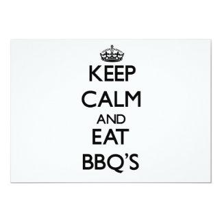 Keep calm and eat Bbq'S Custom Invitations