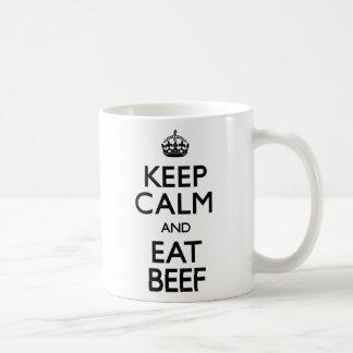 Keep Calm and Eat Beef (Carry On) Basic White Mug