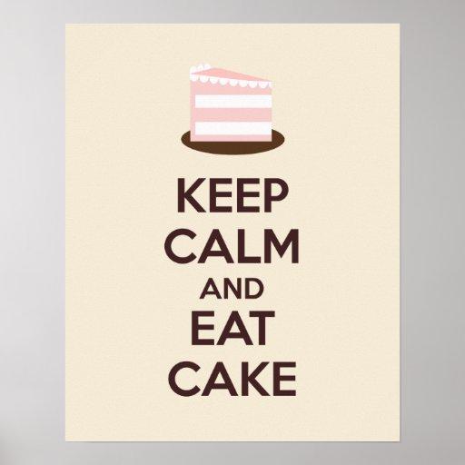 Keep Calm and Eat Cake Poster Print