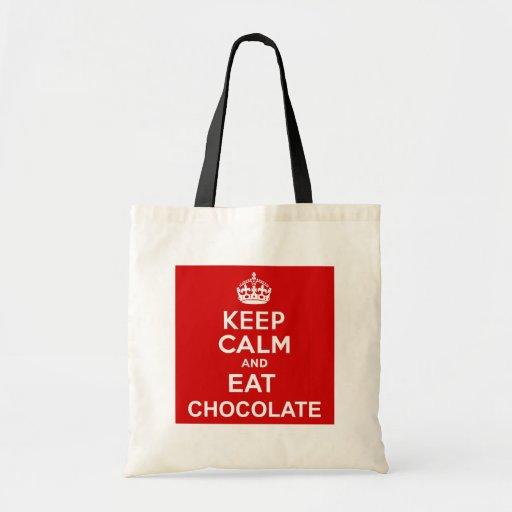 Keep Calm and Eat Chocolate Tote Bag