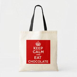 Keep Calm and Eat Chocolate Budget Tote Bag