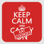 Keep Calm and Eat Cookies (customisable) Square Stickers