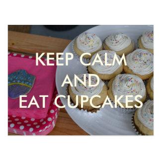 Keep Calm and Eat Cupcakes Postcard